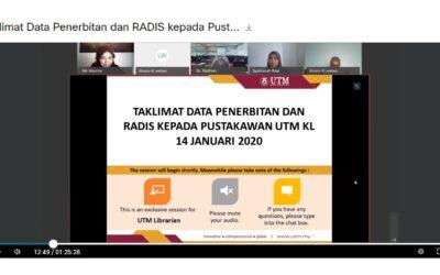 Taklimat Data Penerbitan dan RADIS kepada Pustakawan UTM Kuala Lumpur