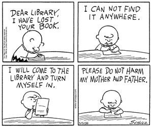 charlie brown and library